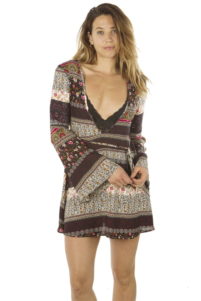 Ladies fashion deep v neck casual floral print mini dress, zip up, flare sleeve - Flix Shopping