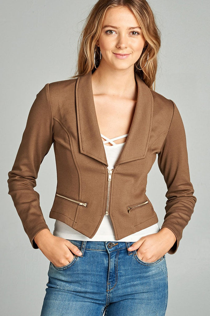 Ladies fashion long sleeve zip front blazer - Flix Shopping