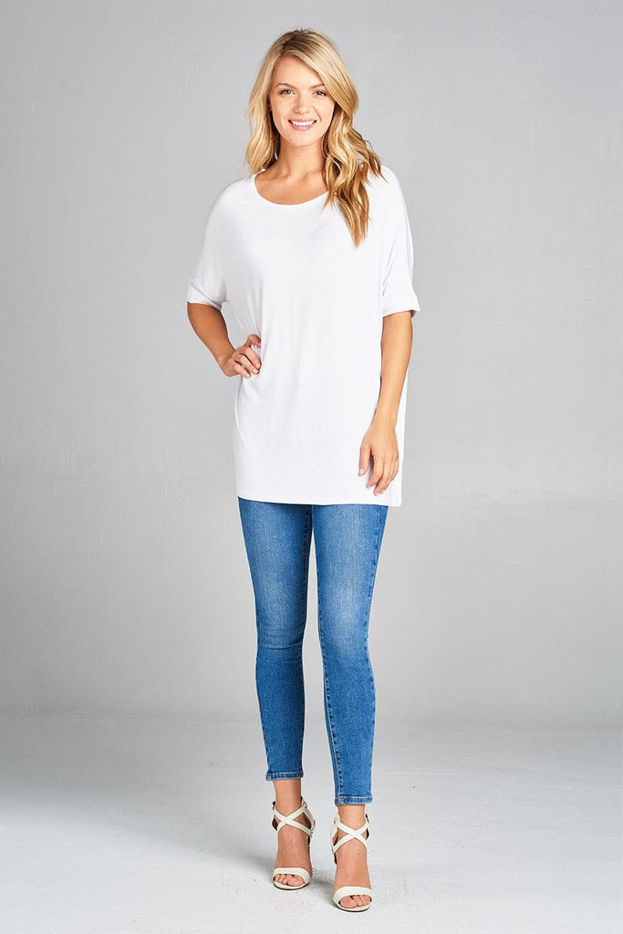Ladies fashion elbow sleeve round neck rayon spandex jersey tunic top - Flix Shopping
