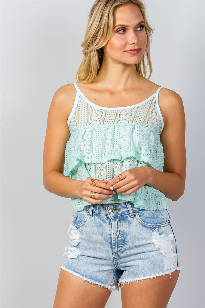 Ladies fashion double layer cropped cami top - Flix Shopping