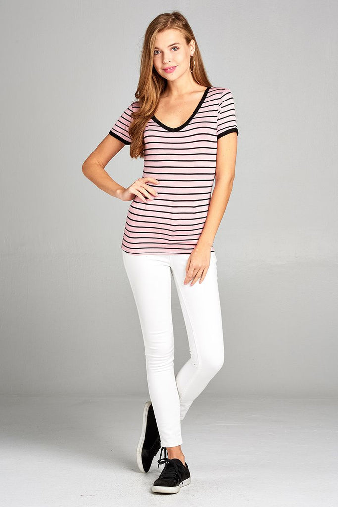 Ladies fashion short sleeve v-neck yarn dyed stripe rayon spandex top - Flix Shopping