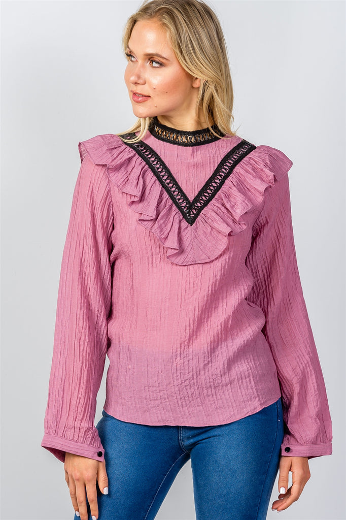 Ladies fashion pink pointelle ruffle contrast crochet trim top - Flix Shopping