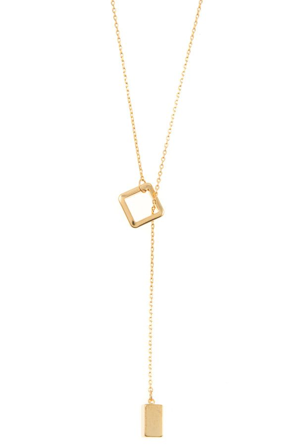 Square lariat pendant necklace - Flix Shopping