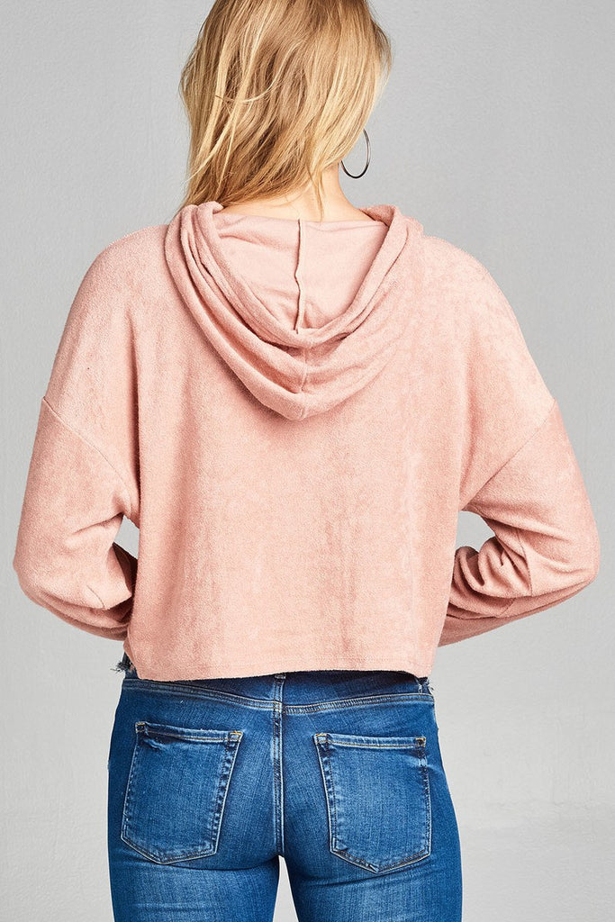 Ladies fashion plus size dropped long sleeve french terry hoodie top - Flix Shopping