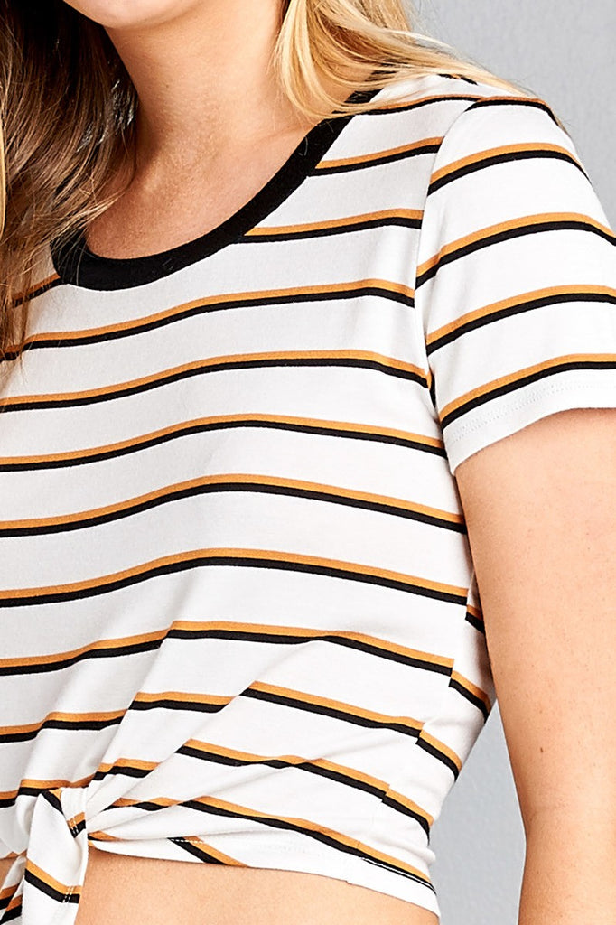 Ladies fashion short sleeve round contrast neck with knotted front crop multi stripe rayon spandex top - Flix Shopping