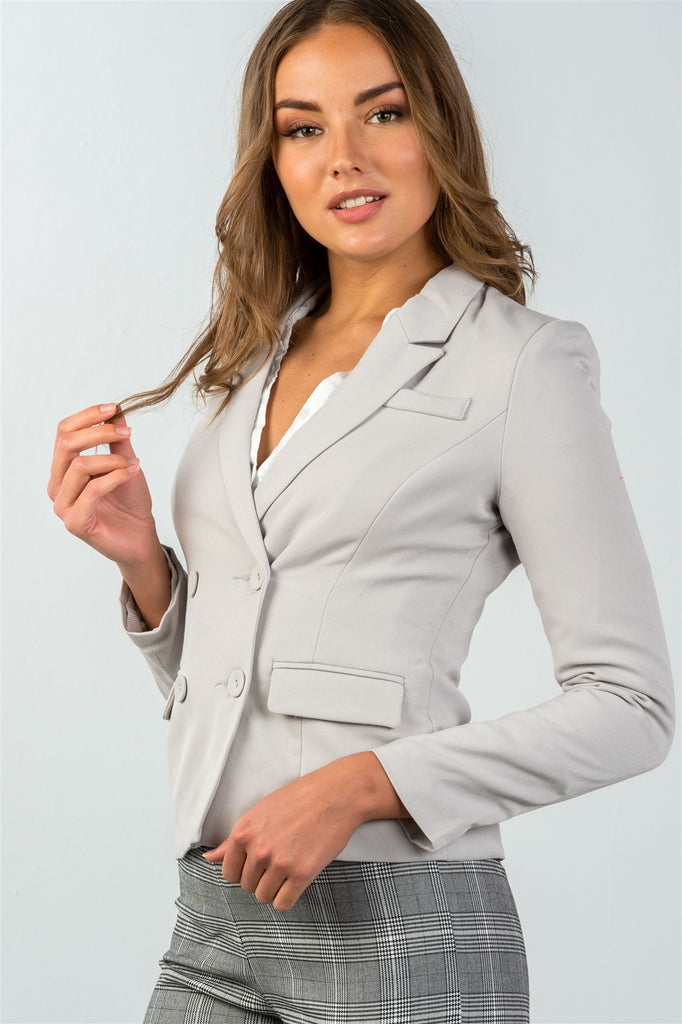 Ladies fashion grey double button down classic solid blazer - Flix Shopping