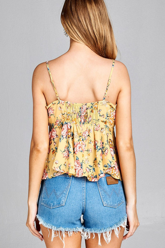 Ladies fashion heart neck w/self tie detail floral print cami woven top - Flix Shopping