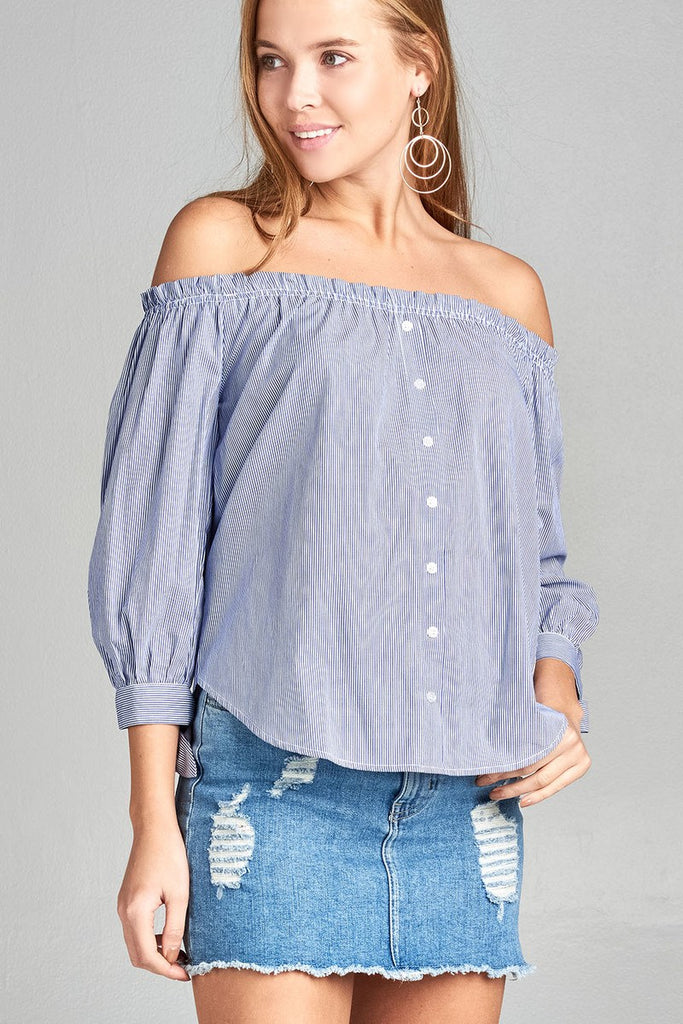 Ladies fashion sleeve tie off the shoulder stripe cotton top - Flix Shopping