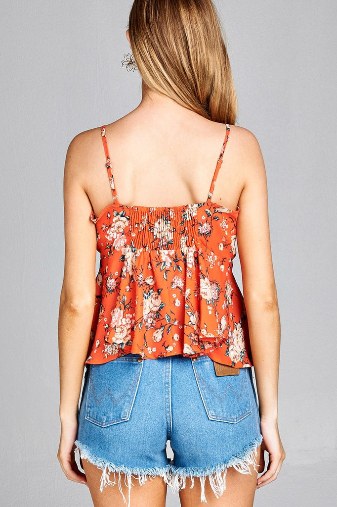 Ladies fashion plus size heart neck w/self tie detail floral print cami woven top - Flix Shopping