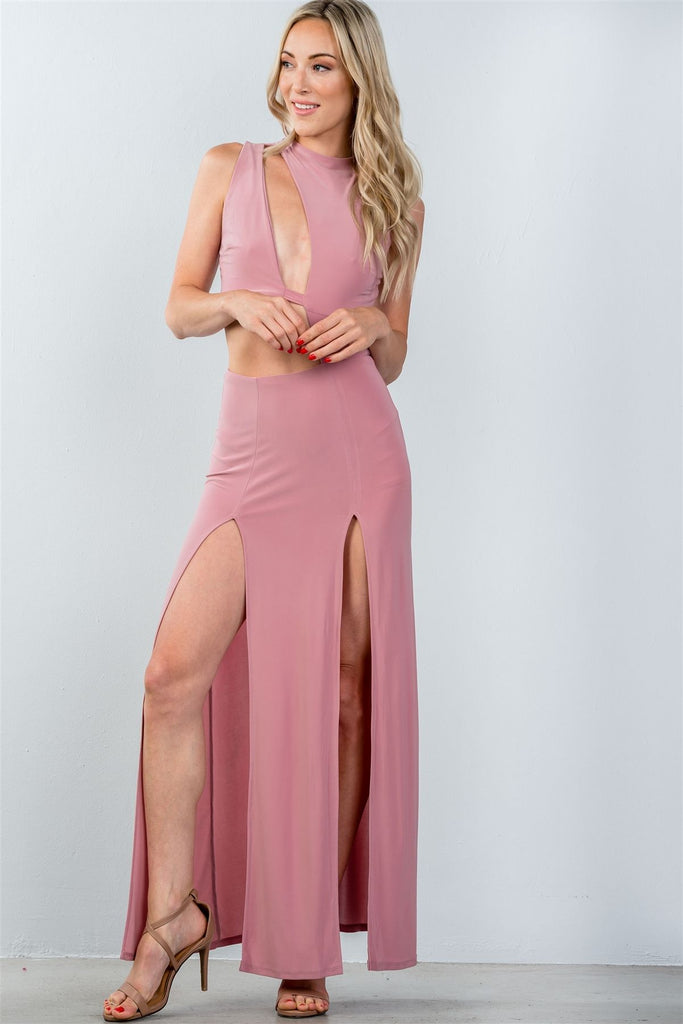 Ladies fashion cut out double thigh high slit maxi dress - Flix Shopping