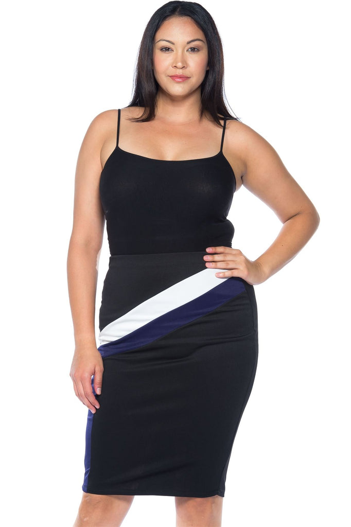 Ladies fashion plus size black blue white color block pencil midi skirt - Flix Shopping