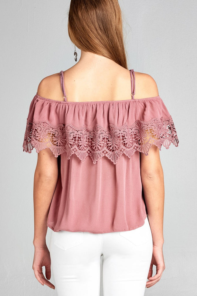 Ladies fashion open shoulder flounce w/crochet lace crinkle gauze woven top - Flix Shopping