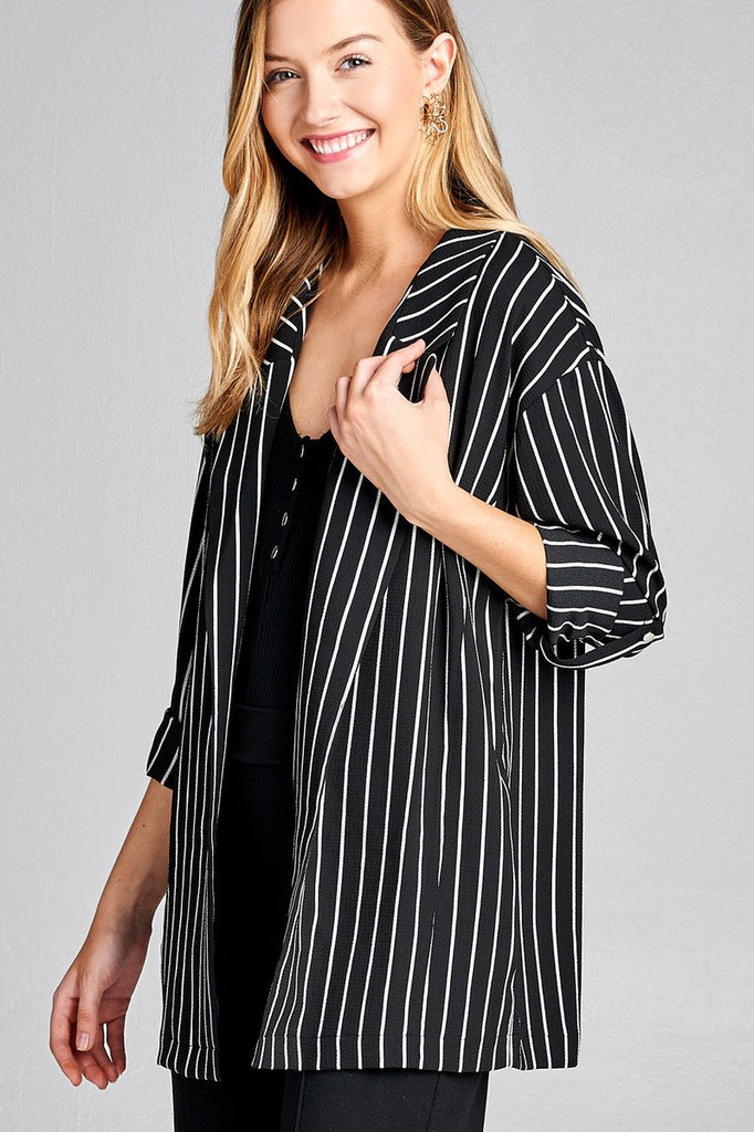 Ladies fashion 3/4 roll up sleeve open front stripe woven jacket - Flix Shopping