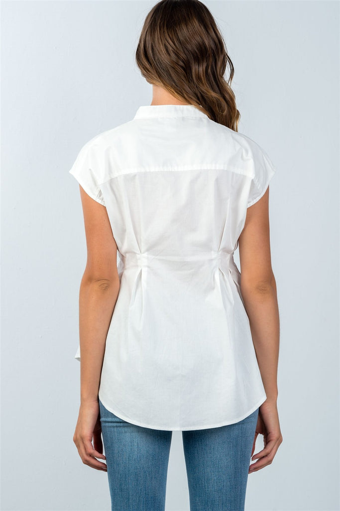 Ladies fashion round neckline white one pocket cap sleeve blouse - Flix Shopping