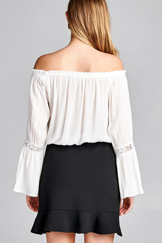 Ladies fashion long sleeve w/lace trim off the shoulder self tie front crinkle gauze woven top - Flix Shopping