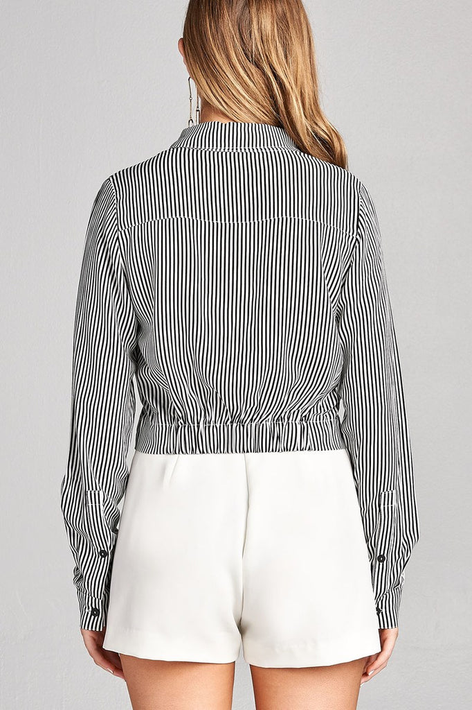 Ladies fashion long sleeve front knot w/button stripe rayon challis woven top - Flix Shopping