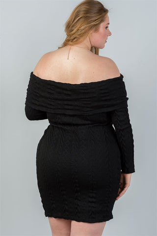 8035b0a4f62 Ladies fashion plus size off the shoulder black ribbed long sleeve bodycon  sweater dress - Flix