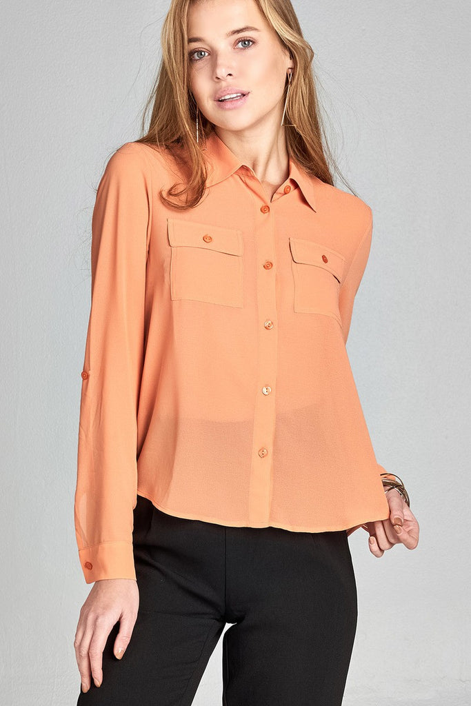 Ladies fashion long sleeve front pocket chiffon blouse w/ back button detail - Flix Shopping
