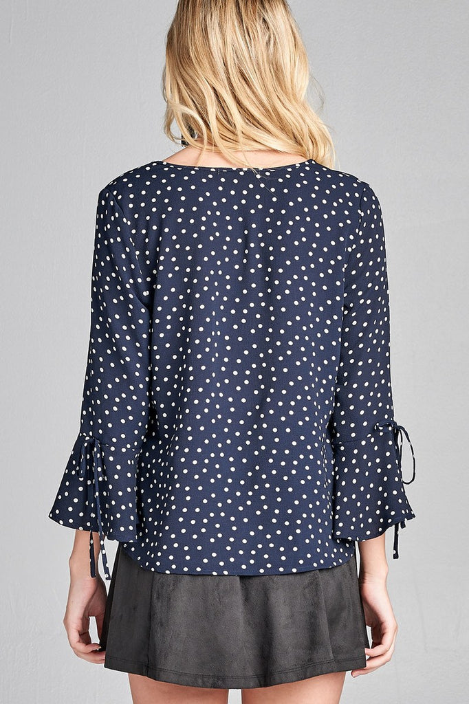 Ladies fashion 3/4 w/bell sleeve round neck dot print crepe woven top - Flix Shopping