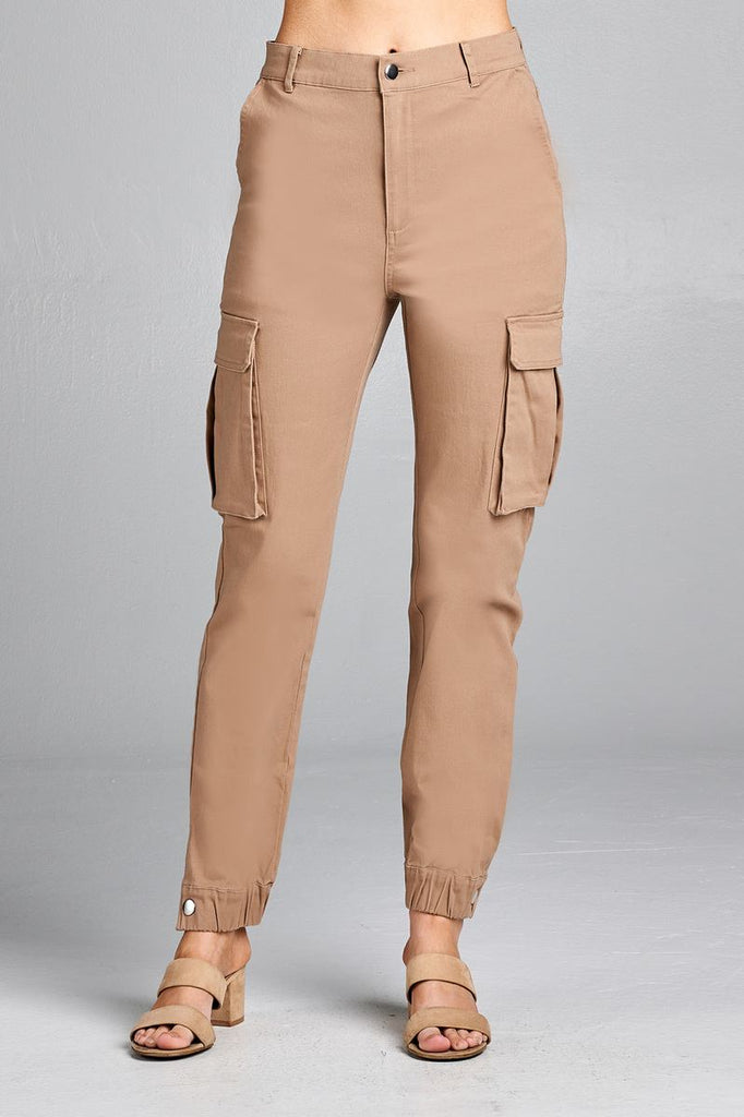 Ladies fashion waist button elastic hem w/snap button cargo pants - Flix Shopping