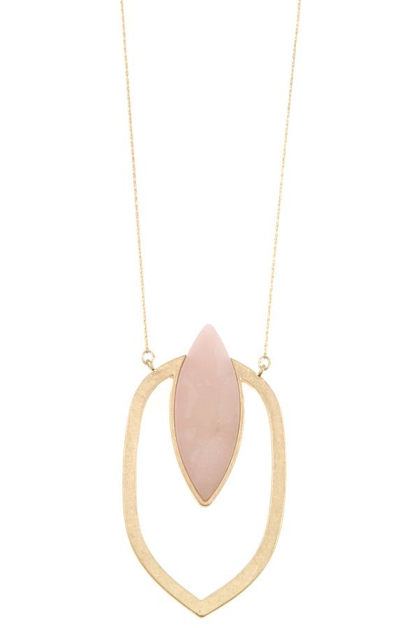 Marquise cut pendant long necklace - Flix Shopping