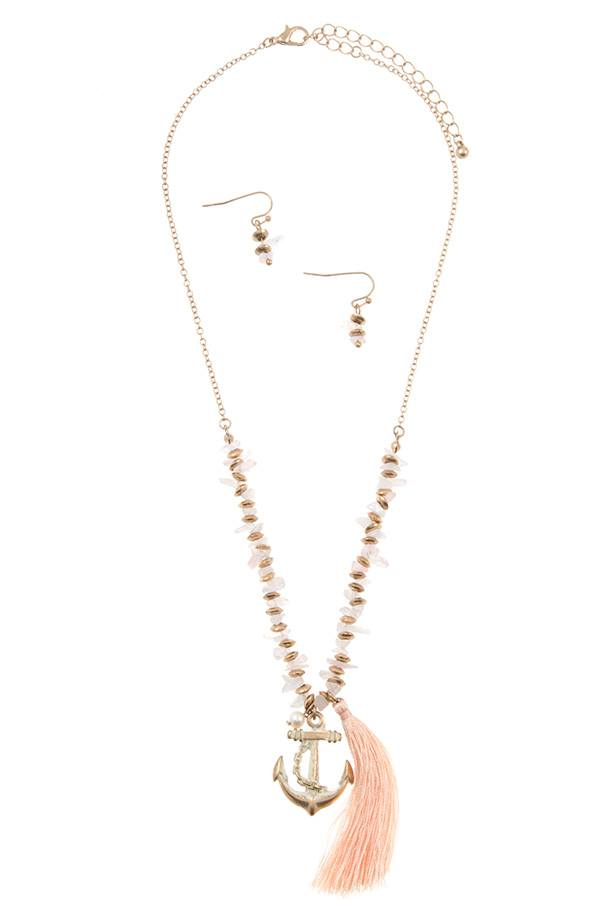 Anchor tassel pendant chipped gem necklace set - Flix Shopping