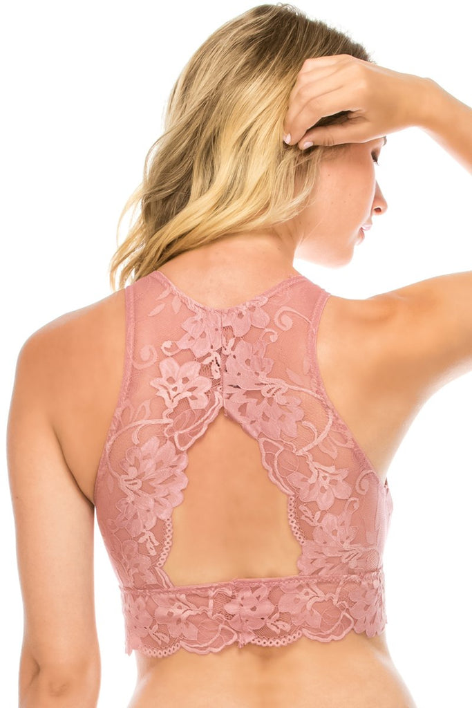Ladies fashion floral lace high-neck bralette racerback w/keyhole - Flix Shopping