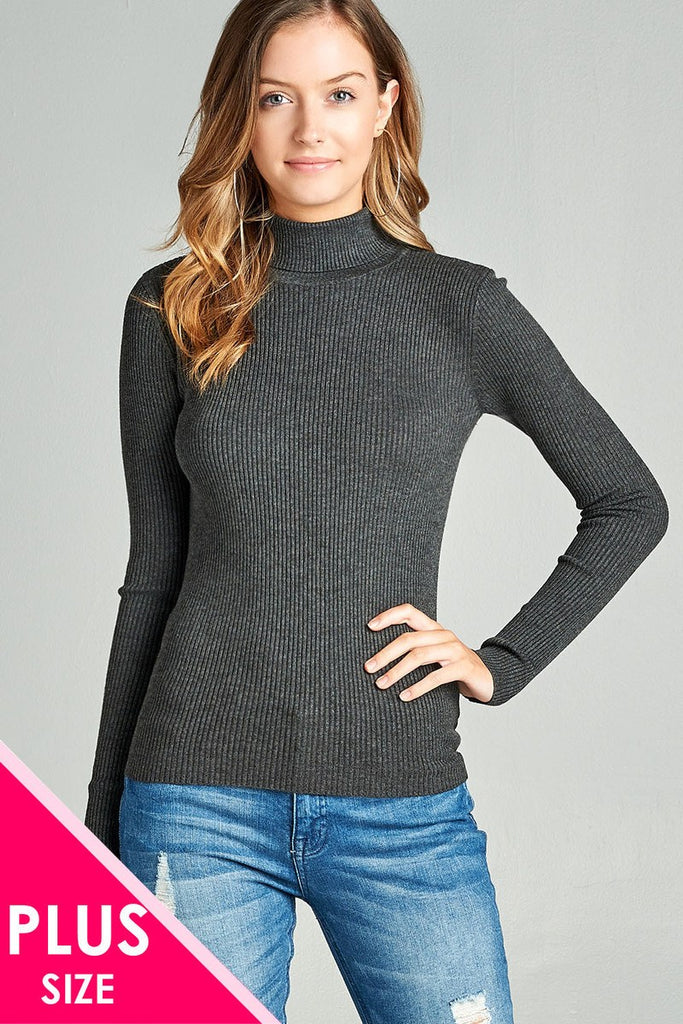 Ladies fashion plus size long sleeve turtle neck fitted rib sweater top - Flix Shopping