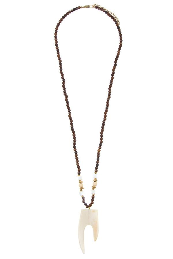 Wooded bead pendant long necklace - Flix Shopping