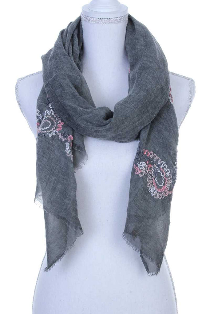 Sheer embroidered oblong scarf - Flix Shopping
