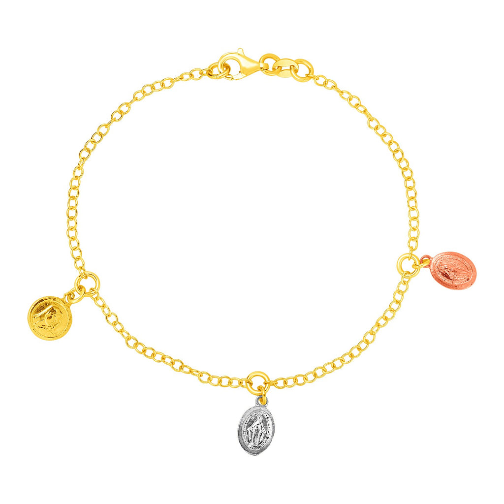 14k Tri Color Gold Bracelet with Medallion Charms