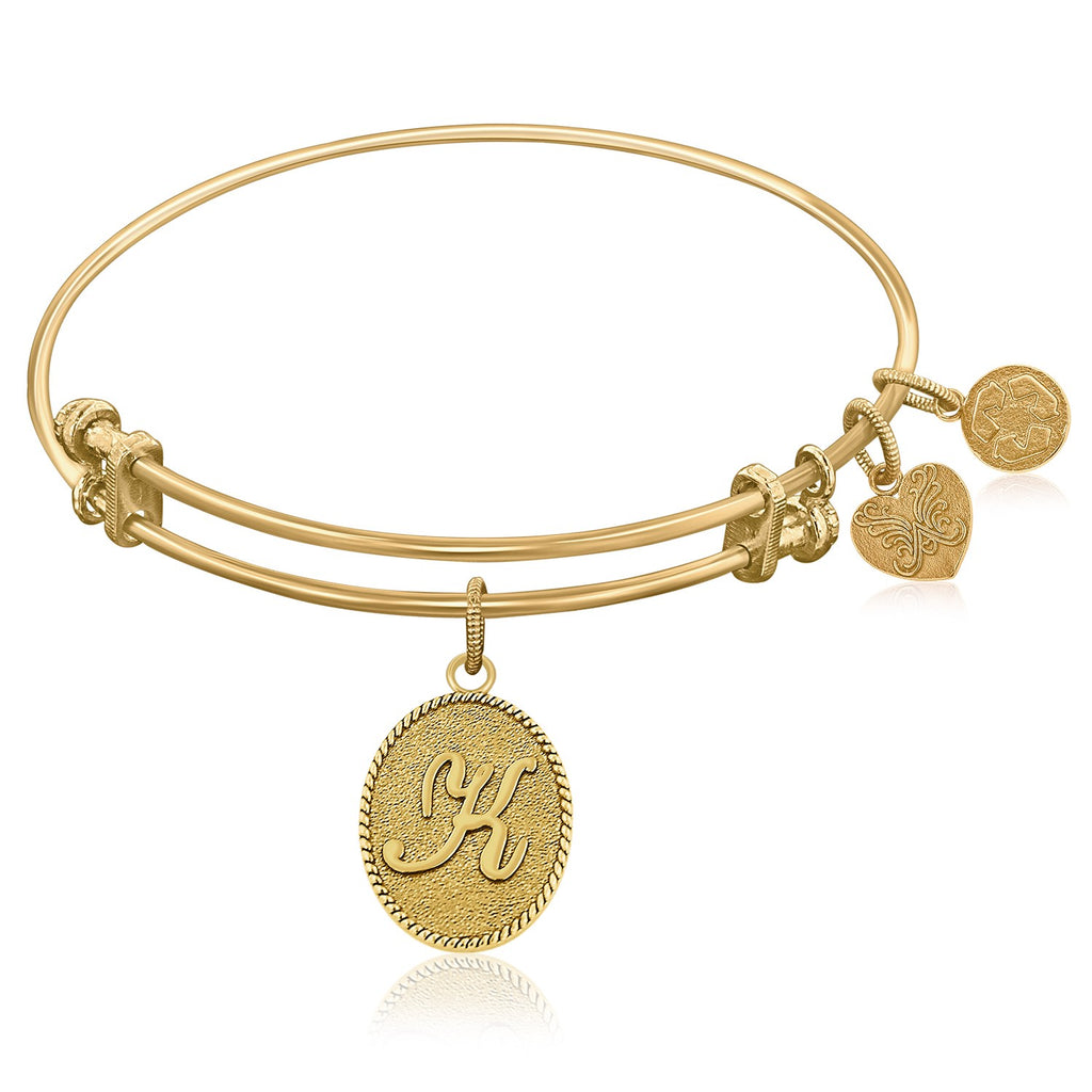 Expandable Bangle in Yellow Tone Brass with Initial K Symbol