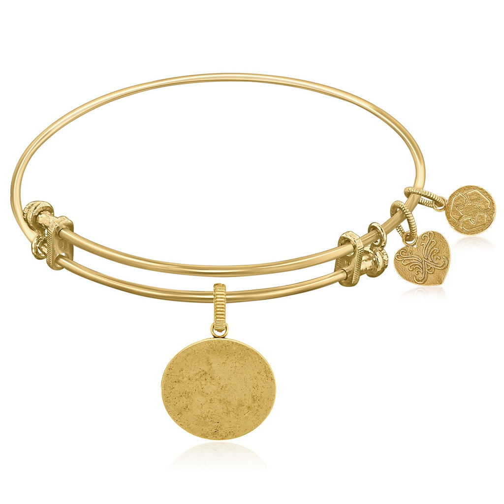 Expandable Yellow Tone Brass Bangle with Oval Engravable Symbol
