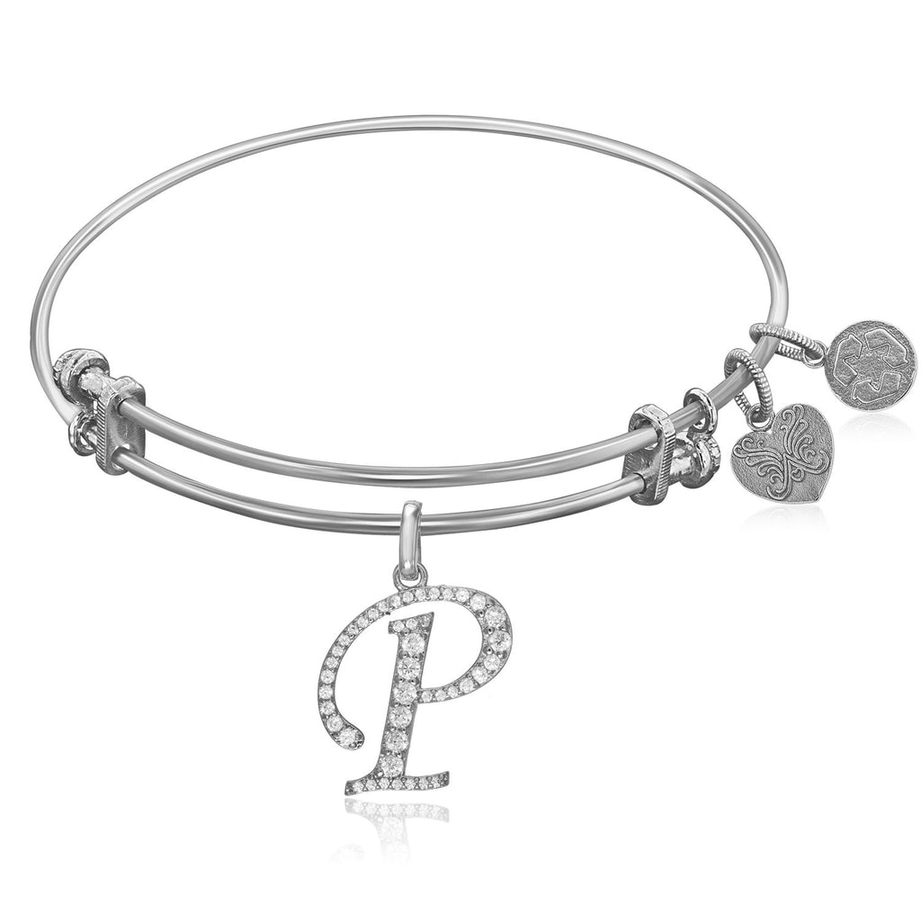 Expandable White Tone Brass Bangle with P Symbol with Cubic Zirconia
