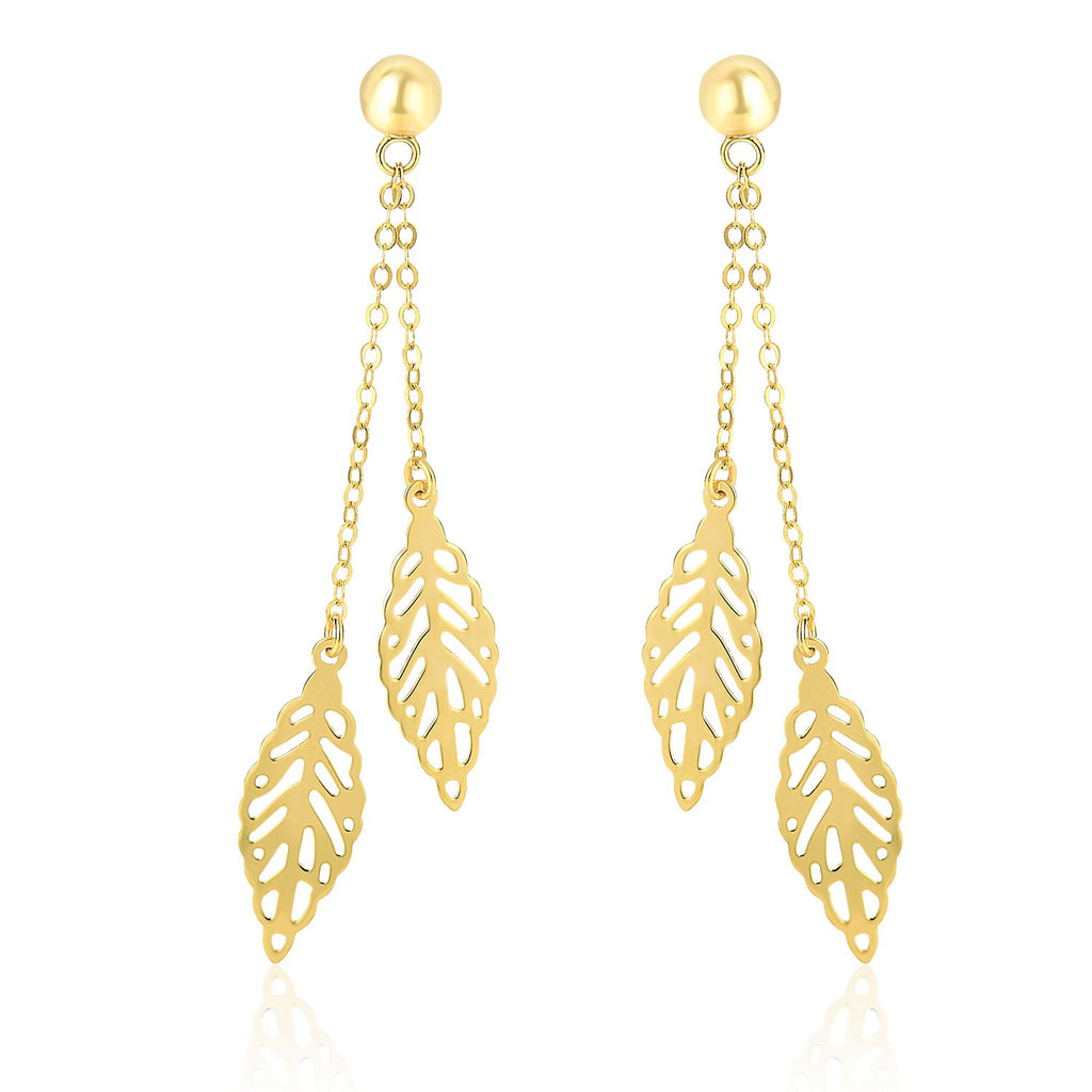 14k Yellow Gold Filigree Leaf Double Strand Dangling Earrings