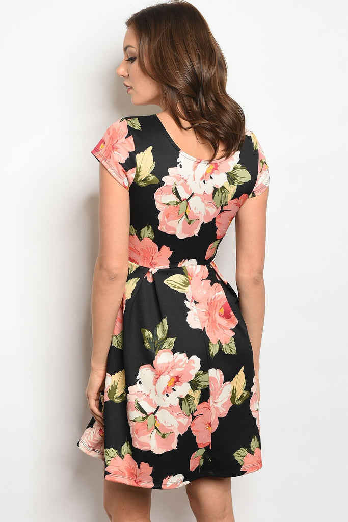 Ladies fashion short sleeve multi color floral print skater dress with a rounded  neckline - Flix Shopping