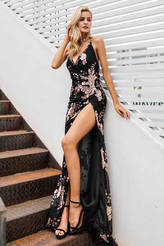 b0c8a557 Sexy lace up halter sequin party dresses women Backless high split maxi  dress women Christmas 2017