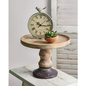 Wooden Display Stand with Cast Iron Base 530318