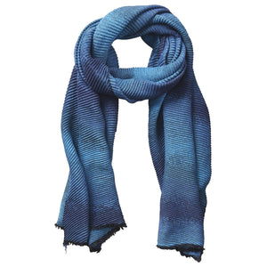 Ombre Ridged Scarf - Blue & Turquoise 804830