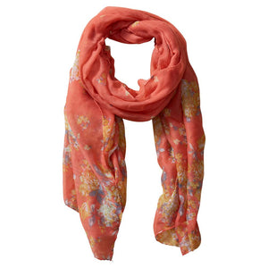 Vibrant Flowers Insect Shield Scarf - Coral 810100
