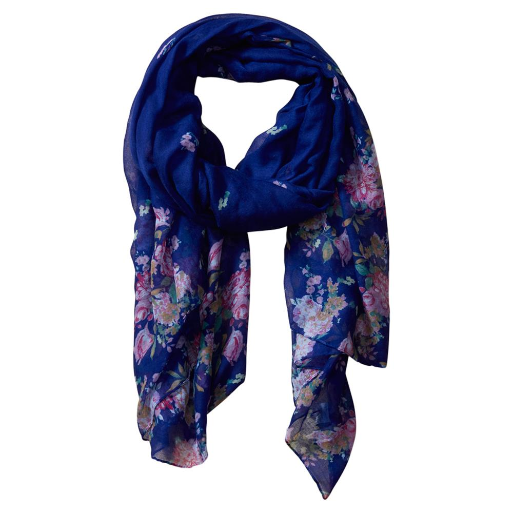 Vibrant Flowers Insect Shield Scarf - Navy 810101