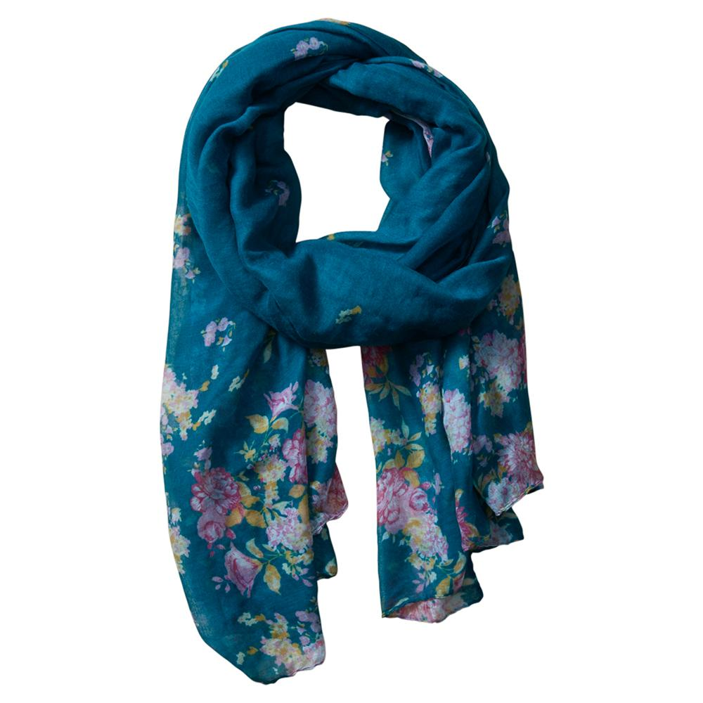 Vibrant Flowers Insect Shield Scarf - Green 810102