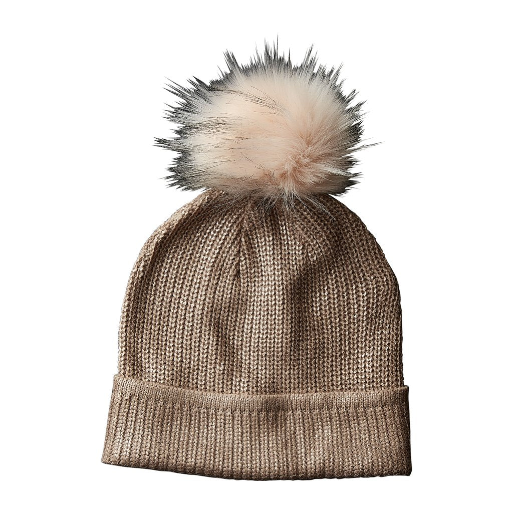 Rose Gold Glam Pom Pom Beanie 810295