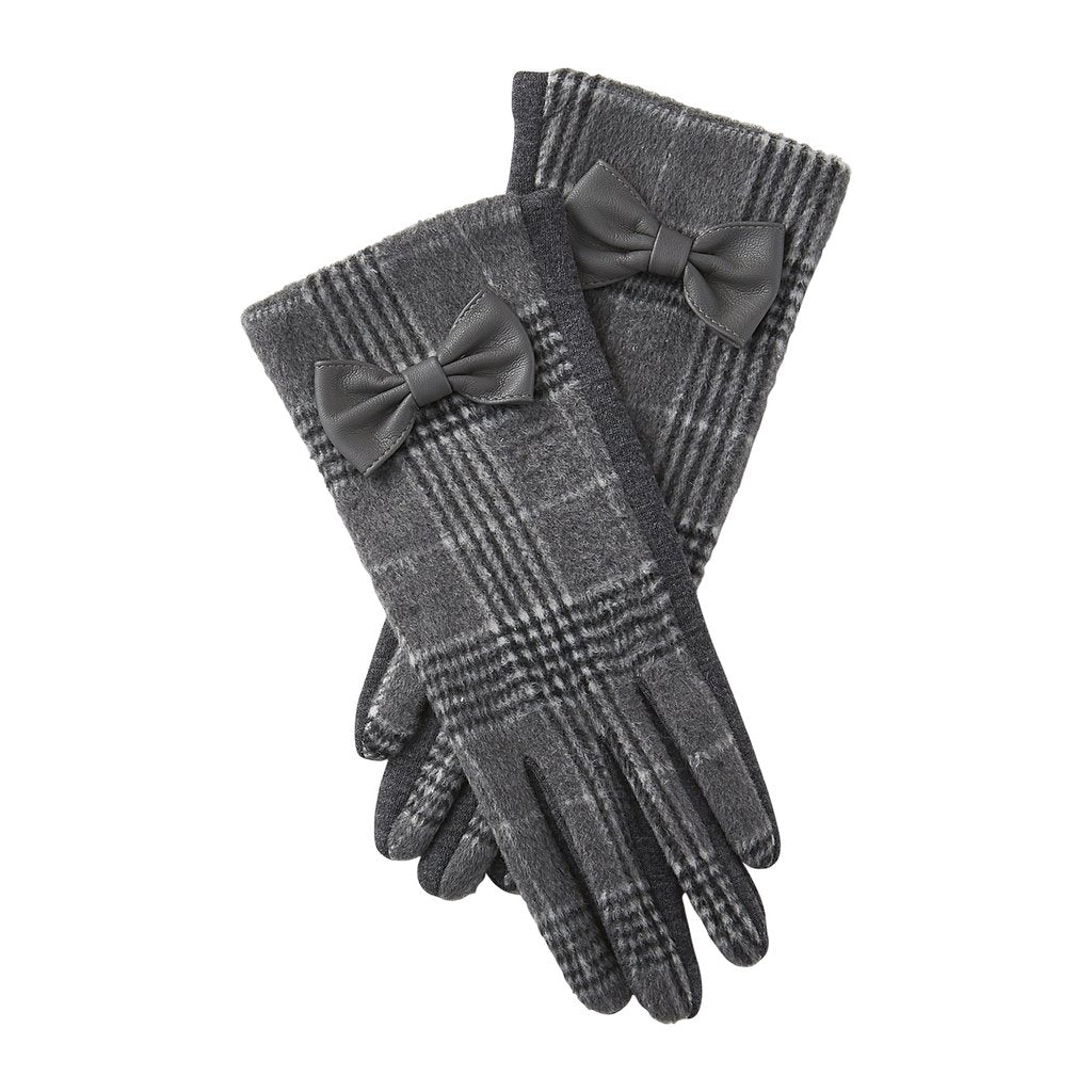 White & Gray Kennedy Plaid Gloves 810311