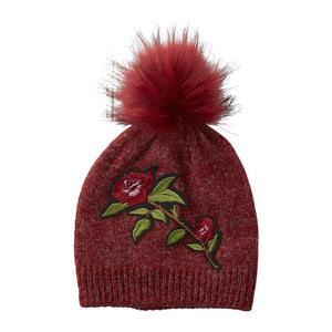Ruby Embellished Rose Beanie 810400