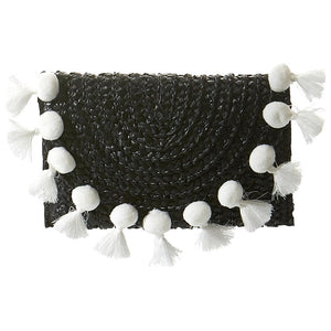 Sophia B&W Straw Clutch 810683