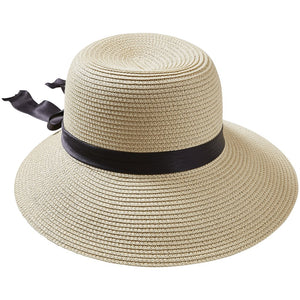 Straw With Black Bow Classic Madeline Hat 810753