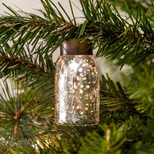 Glass Mini Mason Jar Ornament - Mercury Silver - Set of 6