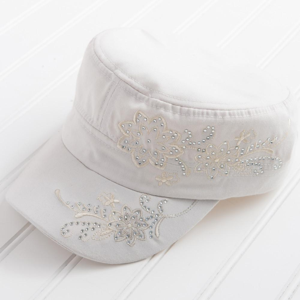 Tiny Floral Embroidered with Sparkle Hat - Cream HATF94-CRM