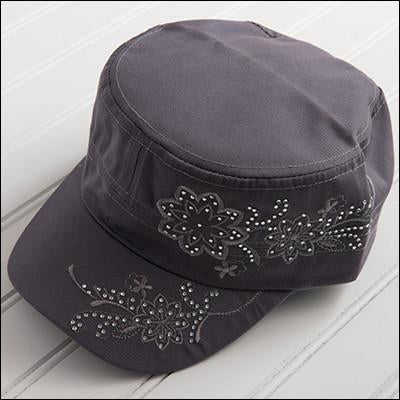 Tiny Floral Embroidered with Sparkle Hat - Gray HATF94-GRY